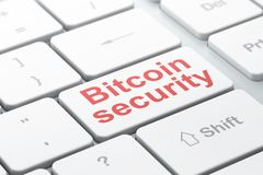 Cryptocurrency concept: Bitcoin Security on computer keyboard background. Cryptocurrency concept: computer keyboard with word Bitcoin Security, selected focus on Royalty Free Stock Photo