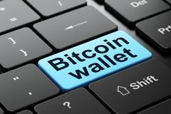 Cryptocurrency concept: Bitcoin Wallet on computer keyboard background. Cryptocurrency concept: computer keyboard with word Bitcoin Wallet, selected focus on Stock Image