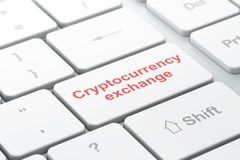 Cryptocurrency concept: Cryptocurrency Exchange on computer keyboard background. Cryptocurrency concept: computer keyboard with word Cryptocurrency Exchange Royalty Free Stock Photos