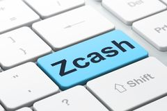Cryptocurrency concept: Zcash on computer keyboard background. Cryptocurrency concept: computer keyboard with word Zcash, selected focus on enter button Stock Image