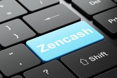 Cryptocurrency concept: Zencash on computer keyboard background. Cryptocurrency concept: computer keyboard with word Zencash, selected focus on enter button Royalty Free Stock Photo