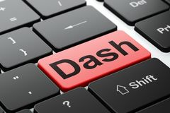 Cryptocurrency concept: Dash on computer keyboard background. Cryptocurrency concept: computer keyboard with word Dash, selected focus on enter button background Royalty Free Stock Image