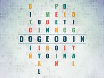 Cryptocurrency concept: Dogecoin in Crossword Puzzle. Cryptocurrency concept: Painted blue word Dogecoin in solving Crossword Puzzle on Digital Data Paper Stock Image