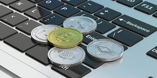 Cryptocurrency. Golden bitcoin and variety of silver virtual coins on a laptop. 3d illustration. Cryptocurrency concept. Golden bitcoin and variety of silver Stock Photography