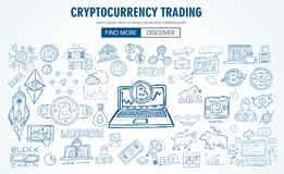 Cryptocurrency concept hand drawn doodle designs like: blockchai. Ns, software wallet, exchanges, data mining, nodes and so on Stock Image