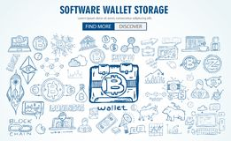 Cryptocurrency concept hand drawn doodle designs like: blockchai. Ns, software wallet, exchanges, data mining, nodes and so on Royalty Free Stock Images