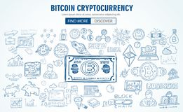 Cryptocurrency concept hand drawn doodle designs like: blockchai. Ns, software wallet, exchanges, data mining, nodes and so on Royalty Free Stock Photo