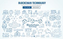Cryptocurrency concept hand drawn doodle designs like: blockchai. Ns, software wallet, exchanges, data mining, nodes and so on Stock Photo