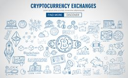 Cryptocurrency concept hand drawn doodle designs like: blockchai. Ns, software wallet, exchanges, data mining, nodes and so on Royalty Free Stock Image