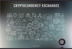 Cryptocurrency concept hand drawn doodle designs like: blockchai. Ns, software wallet, exchanges, data mining, nodes and so on Stock Images