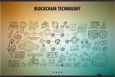 Cryptocurrency concept hand drawn doodle designs like: blockchai Stock Photos