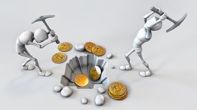 Cryptocurrency concept with miner and coins. Working in bitcoin mine.  Royalty Free Stock Image