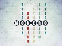 Cryptocurrency concept: Monero in Crossword Puzzle. Cryptocurrency concept: Painted black word Monero in solving Crossword Puzzle on Digital Data Paper Stock Photos