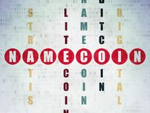 Cryptocurrency concept: Namecoin in Crossword Puzzle. Cryptocurrency concept: Painted red word Namecoin in solving Crossword Puzzle on Digital Data Paper Stock Images
