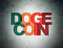 Cryptocurrency concept: Dogecoin on Digital Data Paper background. Cryptocurrency concept: Painted multicolor text Dogecoin on Digital Data Paper background royalty free stock images