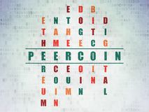 Cryptocurrency concept: Peercoin in Crossword Puzzle. Cryptocurrency concept: Painted green word Peercoin in solving Crossword Puzzle on Digital Data Paper Stock Image