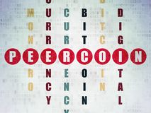 Cryptocurrency concept: Peercoin in Crossword Puzzle. Cryptocurrency concept: Painted red word Peercoin in solving Crossword Puzzle on Digital Data Paper Royalty Free Stock Image