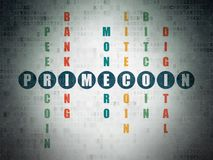 Cryptocurrency concept: Primecoin in Crossword Puzzle. Cryptocurrency concept: Painted blue word Primecoin in solving Crossword Puzzle on Digital Data Paper Stock Photo