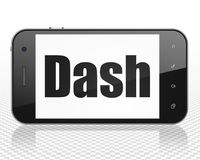 Cryptocurrency concept: Smartphone with Dash on display. Cryptocurrency concept: Smartphone with black text Dash on display, 3D rendering Stock Photo