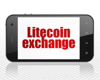 Cryptocurrency concept: Smartphone with Litecoin Exchange on display. Cryptocurrency concept: Smartphone with red text Litecoin Exchange on display, 3D rendering Stock Photography