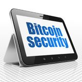 Cryptocurrency concept: Tablet Computer with Bitcoin Security on display Stock Images