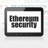 Cryptocurrency concept: Tablet Computer with Ethereum Security on display. Cryptocurrency concept: Tablet Computer with  black text Ethereum Security on display Royalty Free Stock Photo