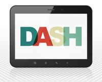 Cryptocurrency concept: Tablet Pc Computer with Dash on  display. Cryptocurrency concept: Tablet Pc Computer with Painted multicolor text Dash on display, 3D Stock Images