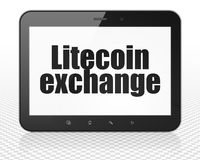 Cryptocurrency concept: Tablet Pc Computer with Litecoin Exchange on display. Cryptocurrency concept: Tablet Pc Computer with black text Litecoin Exchange on Stock Images