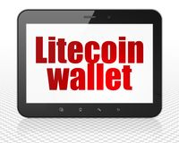 Cryptocurrency concept: Tablet Pc Computer with Litecoin Wallet on display. Cryptocurrency concept: Tablet Pc Computer with red text Litecoin Wallet on display Royalty Free Stock Photos