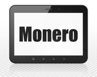Cryptocurrency concept: Tablet Pc Computer with Monero on display. Cryptocurrency concept: Tablet Pc Computer with black text Monero on display, 3D rendering Royalty Free Stock Photo