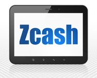 Cryptocurrency concept: Tablet Pc Computer with Zcash on display. Cryptocurrency concept: Tablet Pc Computer with blue text Zcash on display, 3D rendering Royalty Free Stock Images