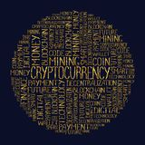 Cryptocurrency concept tag words pattern. Cryptocurrency concept in tag circle cloud. Blockchain finance web money business, cryptocurrency banking money Royalty Free Stock Photos