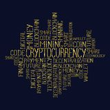 Cryptocurrency concept tag words pattern. Cryptocurrency concept in tag cloud. Blockchain finance web money business, cryptocurrency banking money transfer Royalty Free Stock Photos