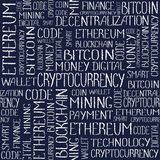 Cryptocurrency concept tag words pattern. Cryptocurrency concept. Blockchain finance web money business, cryptocurrency banking money transfer technology texture Royalty Free Stock Photo