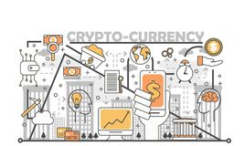 Cryptocurrency concept vector illustration in flat linear style vector illustration