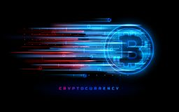 Cryptocurrency concept. Vector technology illustration. Neon light sign with with neon lines, geometric figures. Futuristic label design. Luminous cyber Stock Photography