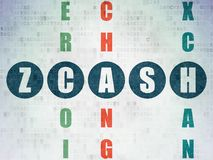 Cryptocurrency concept: Zcash in Crossword Puzzle. Cryptocurrency concept: Painted blue word Zcash in solving Crossword Puzzle on Digital Data Paper background Royalty Free Stock Image