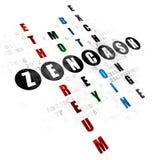 Cryptocurrency concept: Zencash in Crossword Puzzle. Cryptocurrency concept: Pixelated black word Zencash in solving Crossword Puzzle on Digital background Stock Image