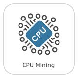 Cryptocurrency CPU mining icon. Stock Images