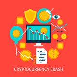 Cryptocurrency Crash Flat Concept. Poster Design Vector Illustration. Set of Financial Objects Royalty Free Stock Photos