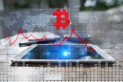 Cryptocurrency crisis on virtual screen. Bitcoin and Ethereum falls. Cryptocurrency crisis on virtual screen. Bitcoin and Ethereum falls stock image