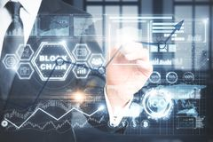 Cryptocurrency, cryptography and e-commerce concept stock photography
