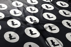 Cryptocurrency 3d de Litecoin LTC rendre le drapeau illustration stock