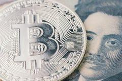 Cryptocurrency de Bitcoin do mercado de urso, dinheiro digital no conce de Japão fotos de stock