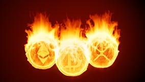 Cryptocurrency de Bitcoin, de ethereum e de ondinha que queima-se no fogo Diminuição vermelha do mercado ilustração do vetor