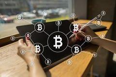 Cryptocurrency de Bitcoin Introduza no mercado a troca, a tecnologia financeira e o conceito digital do dinheiro imagem de stock royalty free