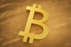 Cryptocurrency de Bitcoin Símbolo do close up Fundo do dinheiro do Internet ilustração 3D Fotografia de Stock Royalty Free