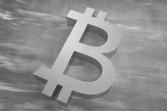 Cryptocurrency de Bitcoin Símbolo do close up Fundo do dinheiro do Internet ilustração 3D Foto de Stock Royalty Free