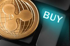 Cryptocurrency de la moneda de la ondulación foto de archivo