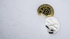 Cryptocurrency de prata do bitcoin de Litecoin e de ouro na neve O conceito de freelancing, a bolsa de valores Bitcoin do ouro so fotografia de stock